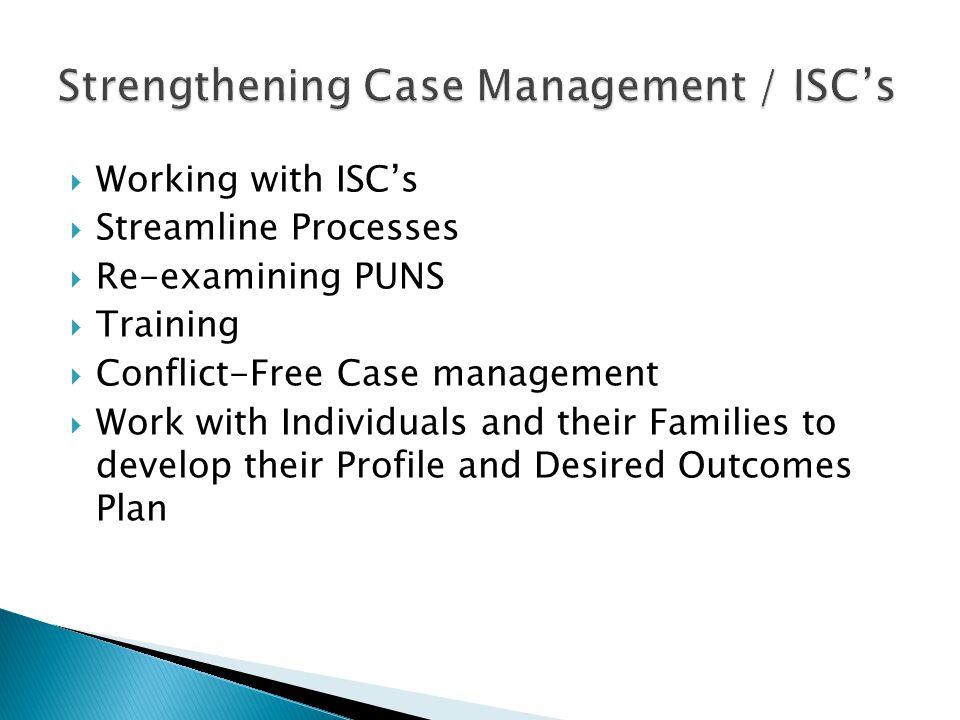 Strengthening Case Management / ISC's