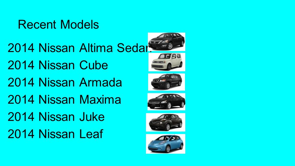 Recent Models 2014 Nissan Altima Sedan. 2014 Nissan Cube. 2014 Nissan Armada. 2014 Nissan Maxima.