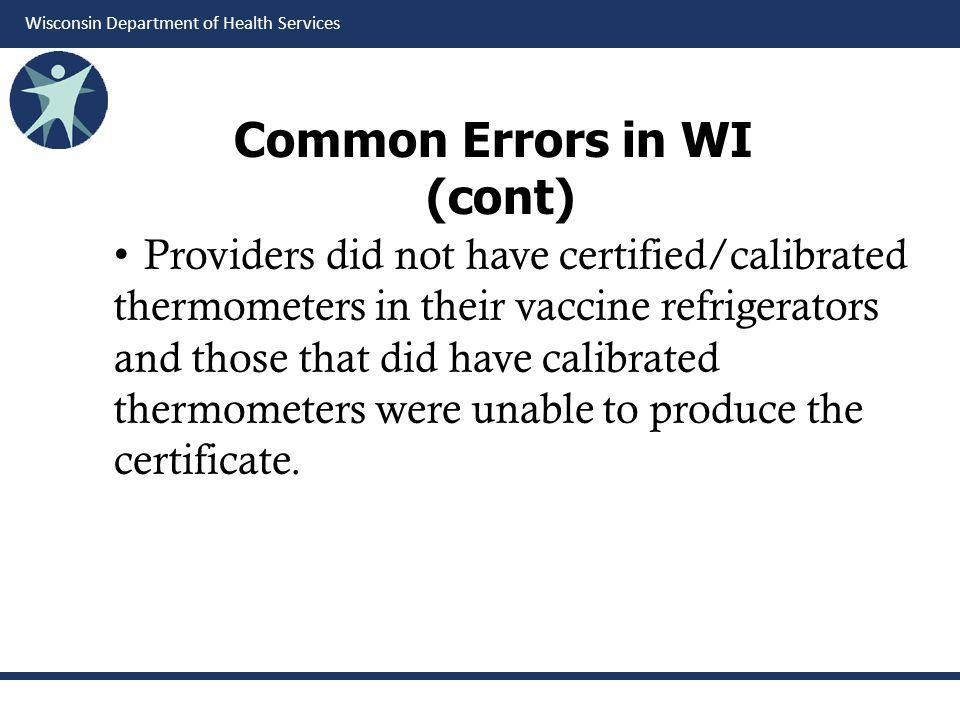 Common Errors in WI (cont)