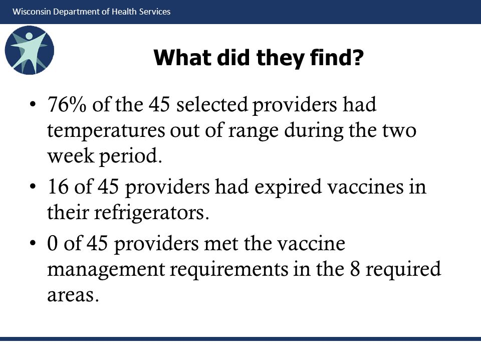 What did they find 76% of the 45 selected providers had temperatures out of range during the two week period.