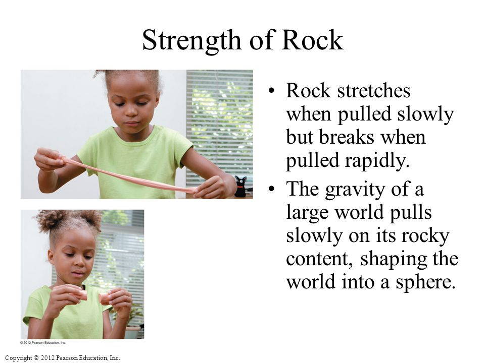 Strength of Rock Rock stretches when pulled slowly but breaks when pulled rapidly.