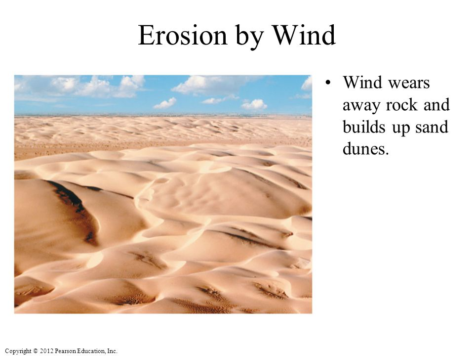 Erosion by Wind Wind wears away rock and builds up sand dunes.