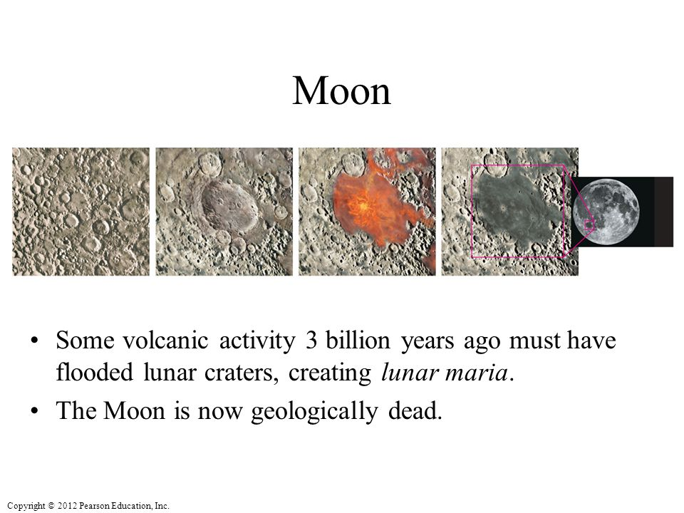 Moon Some volcanic activity 3 billion years ago must have flooded lunar craters, creating lunar maria.