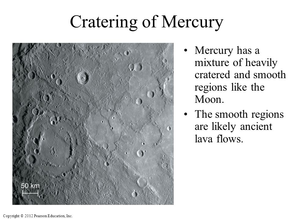 Cratering of Mercury Mercury has a mixture of heavily cratered and smooth regions like the Moon.