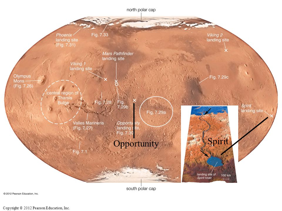 Inset shows hypothetical ancient 'water line' for Gusev Crater where Spirit landed