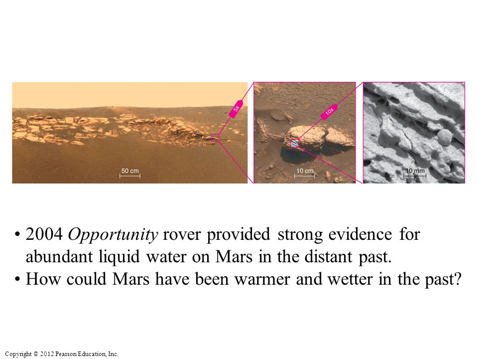 2004 Opportunity rover provided strong evidence for abundant liquid water on Mars in the distant past.