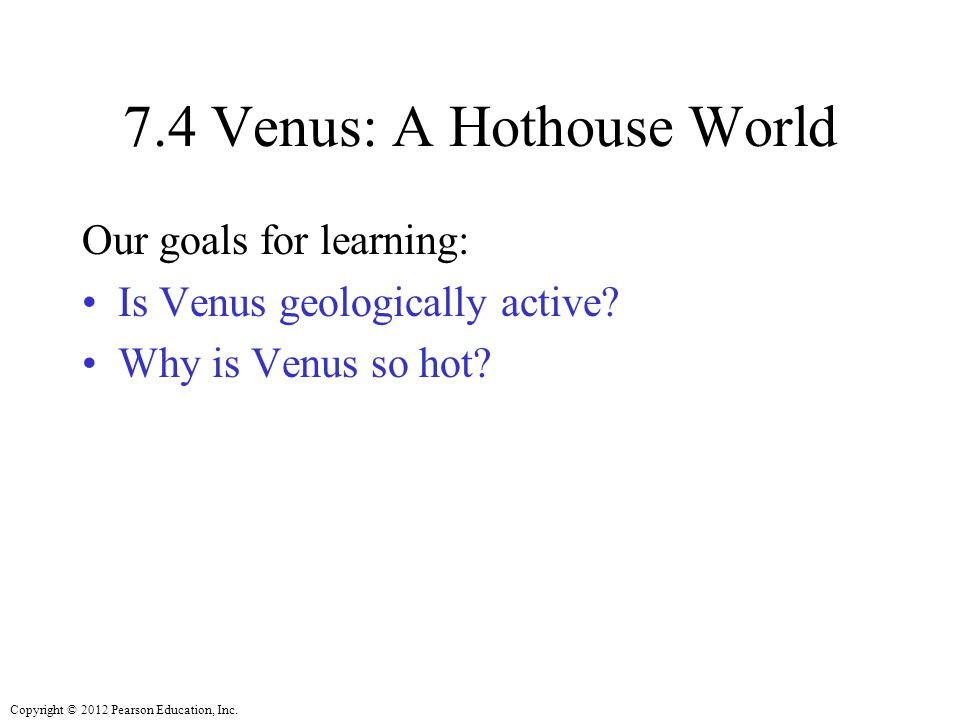7.4 Venus: A Hothouse World