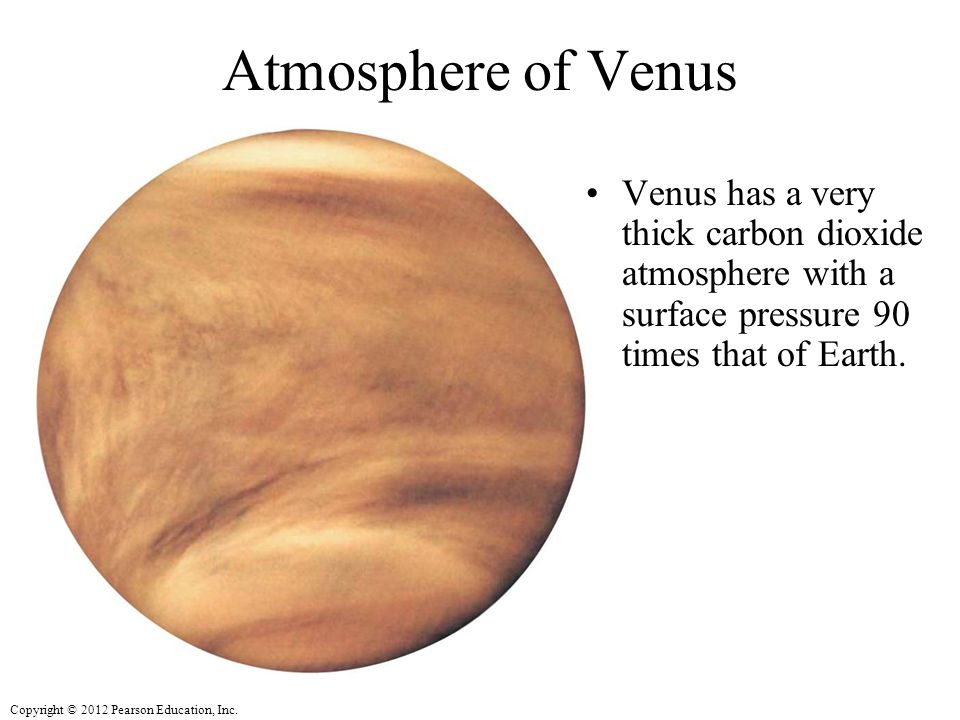 Atmosphere of Venus Venus has a very thick carbon dioxide atmosphere with a surface pressure 90 times that of Earth.