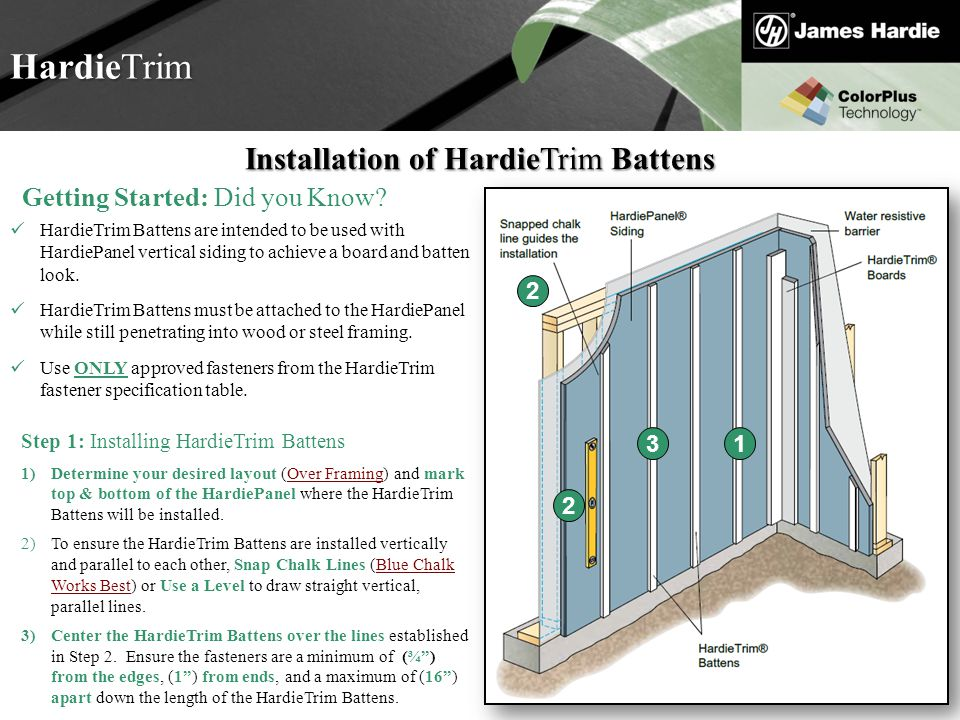 Installation of HardieTrim Battens