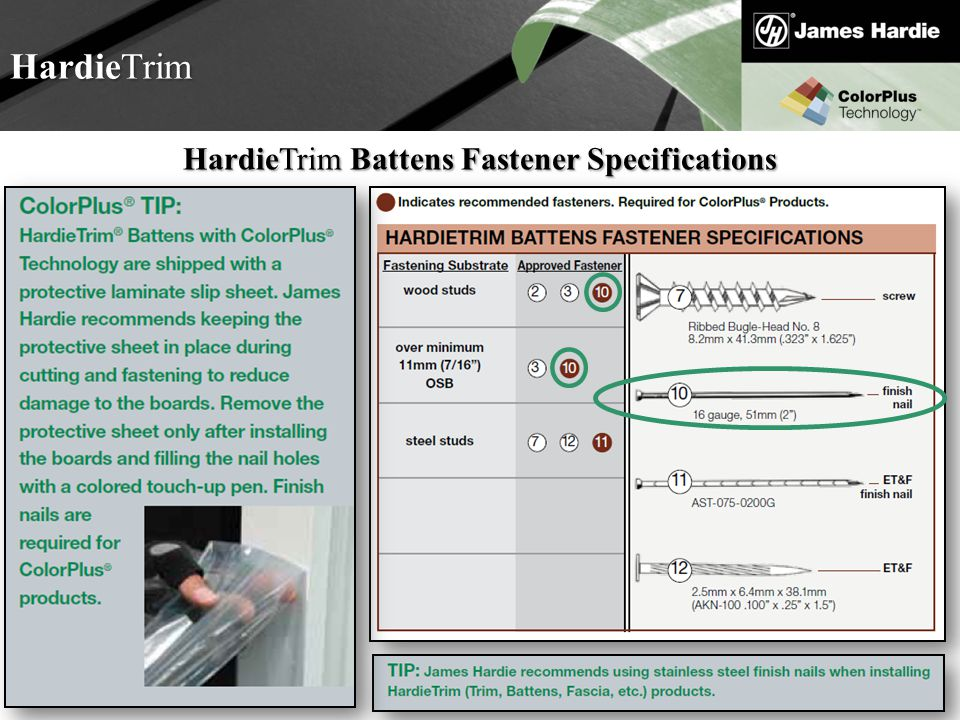 HardieTrim Battens Fastener Specifications
