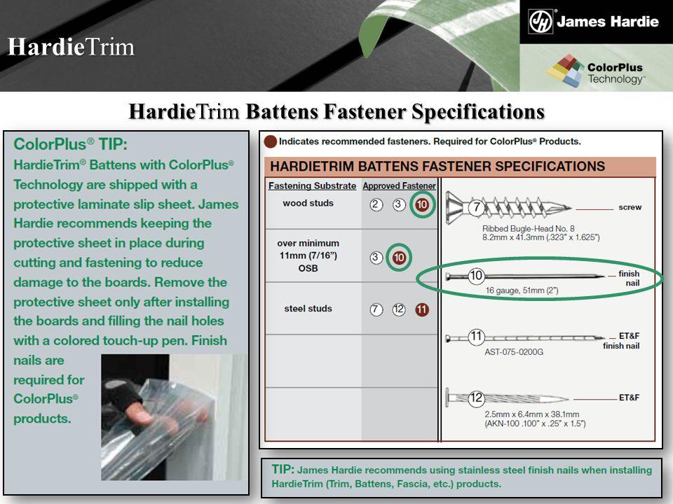 HardieTrim Battens Fastener Specifications