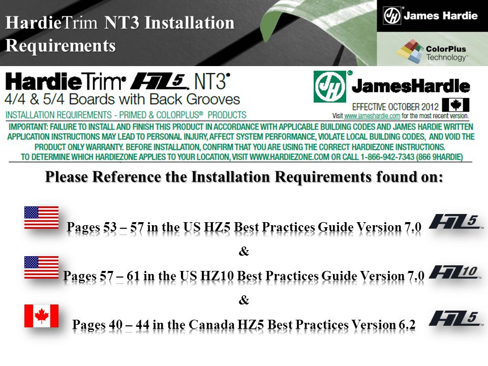 HardieTrim NT3 Installation Requirements
