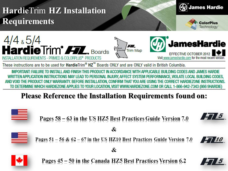HardieTrim HZ Installation Requirements