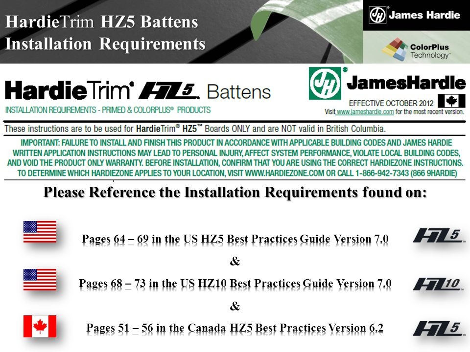 HardieTrim HZ5 Battens Installation Requirements
