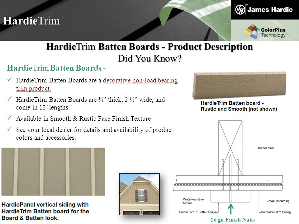 HardieTrim Batten Boards - Product Description