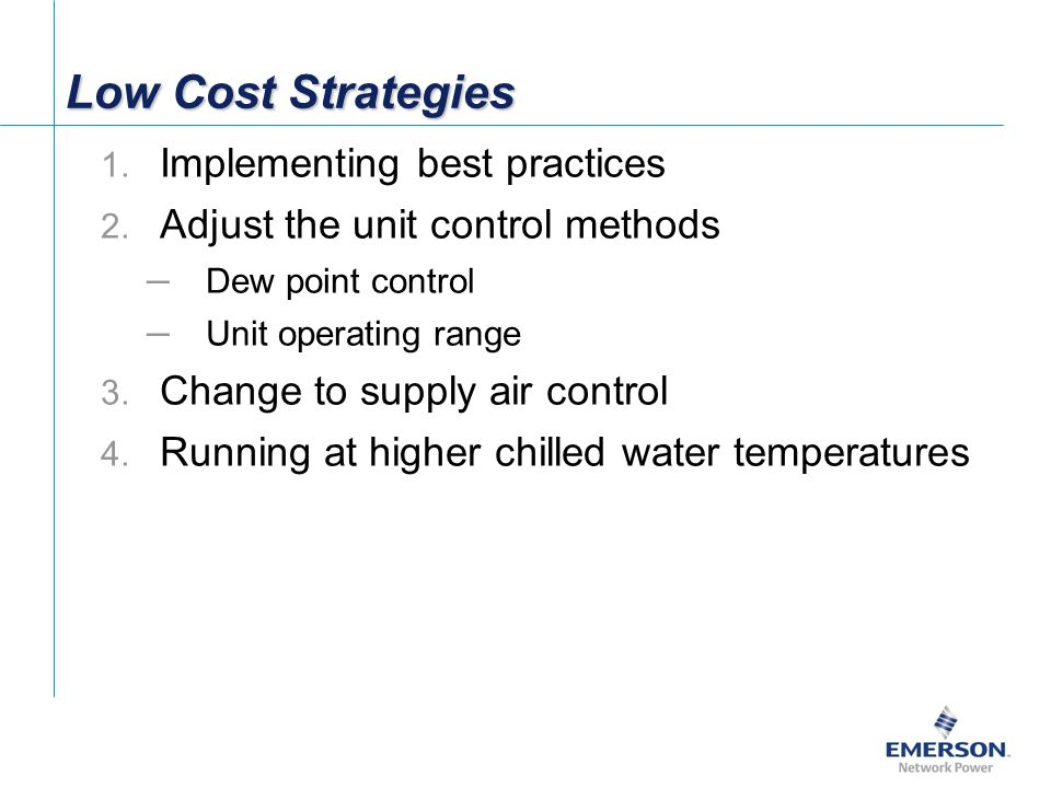 Low Cost Strategies Implementing best practices