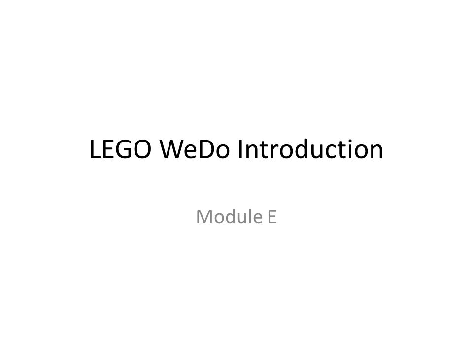 LEGO WeDo Introduction