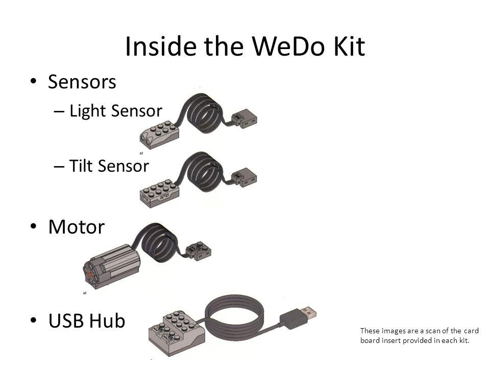 Inside the WeDo Kit Sensors Motor USB Hub Light Sensor Tilt Sensor