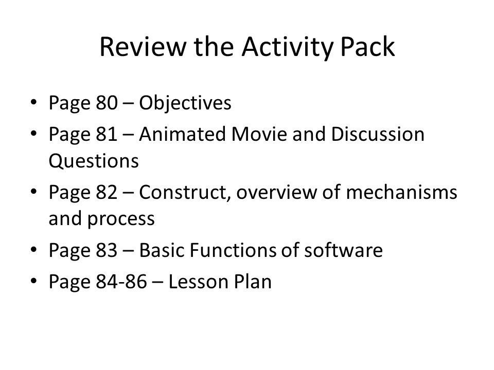 Review the Activity Pack