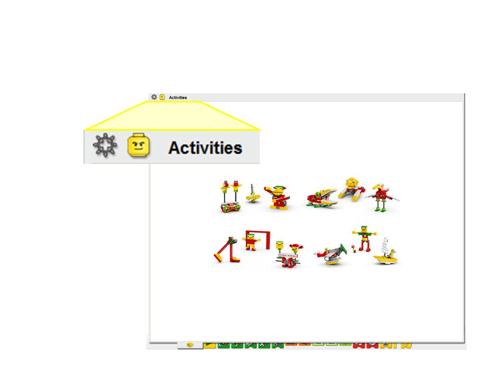Script: The Activities Guide is accessible by clicking on the yellow LEGO head icon, which opens a window that contains illustrations of the theme based builds.