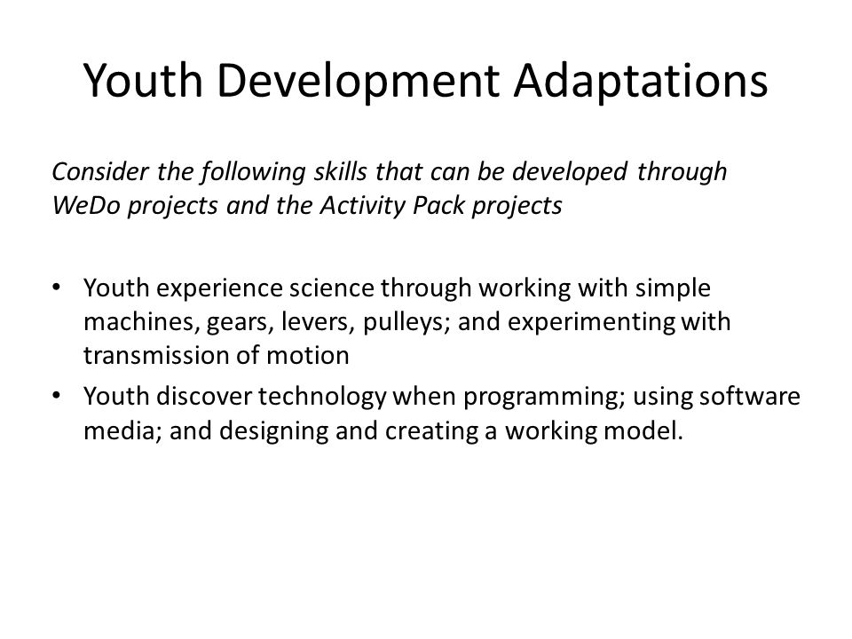 Youth Development Adaptations