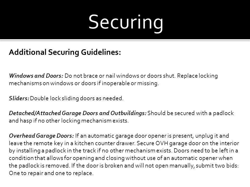 Securing Additional Securing Guidelines: