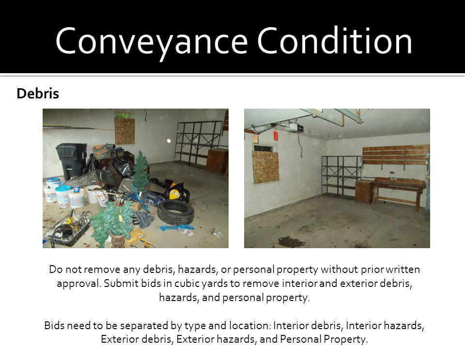 Conveyance Condition Debris