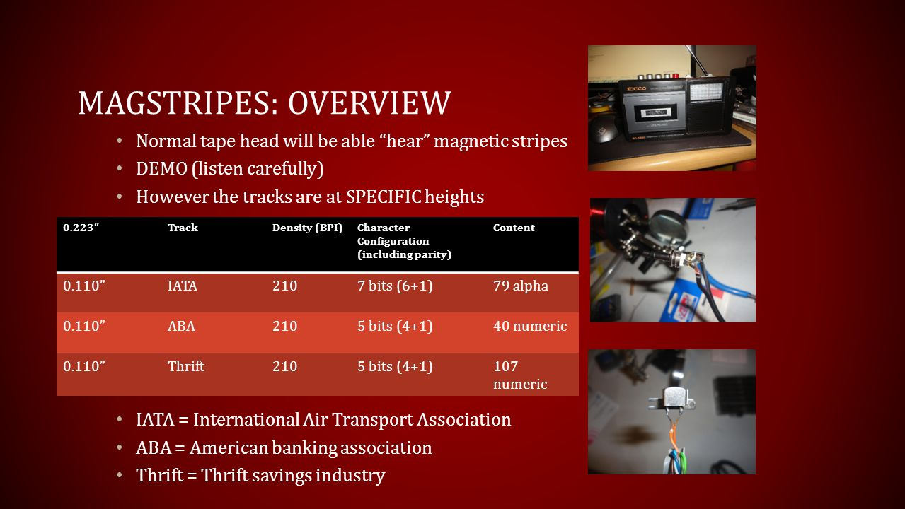 Magstripes: overview Normal tape head will be able hear magnetic stripes. DEMO (listen carefully)