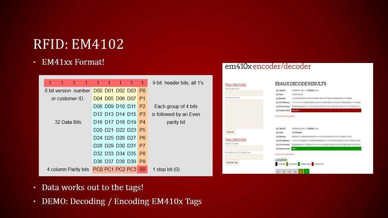 RFID: EM4102 EM41xx Format! Data works out to the tags!