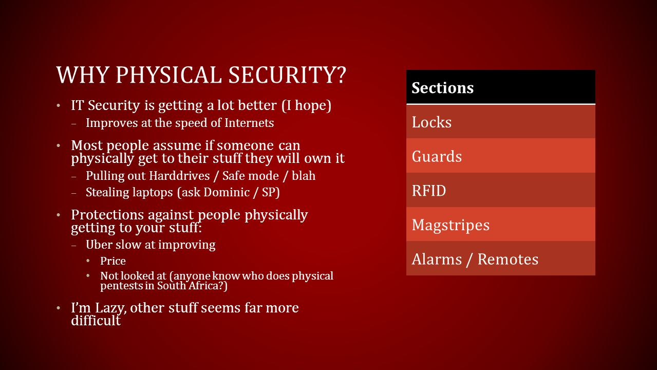 Why Physical Security Sections Locks Guards RFID Magstripes