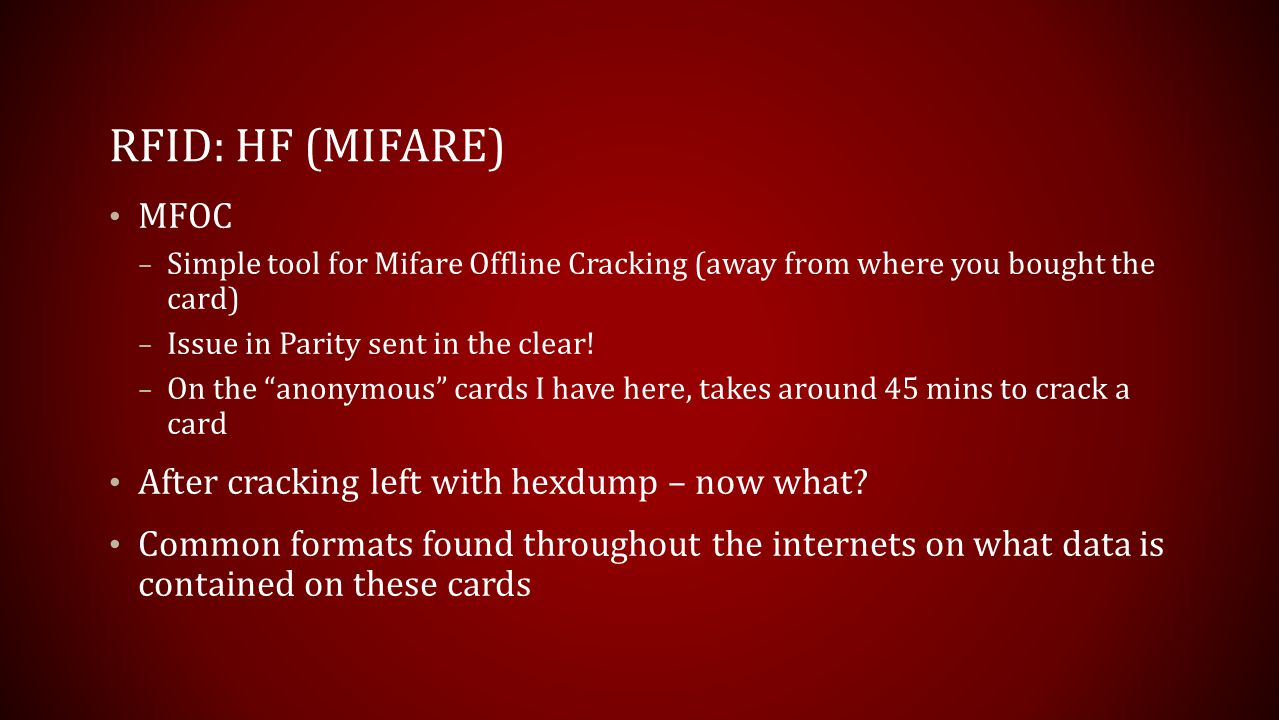 RFID: HF (mifare) MFOC After cracking left with hexdump – now what