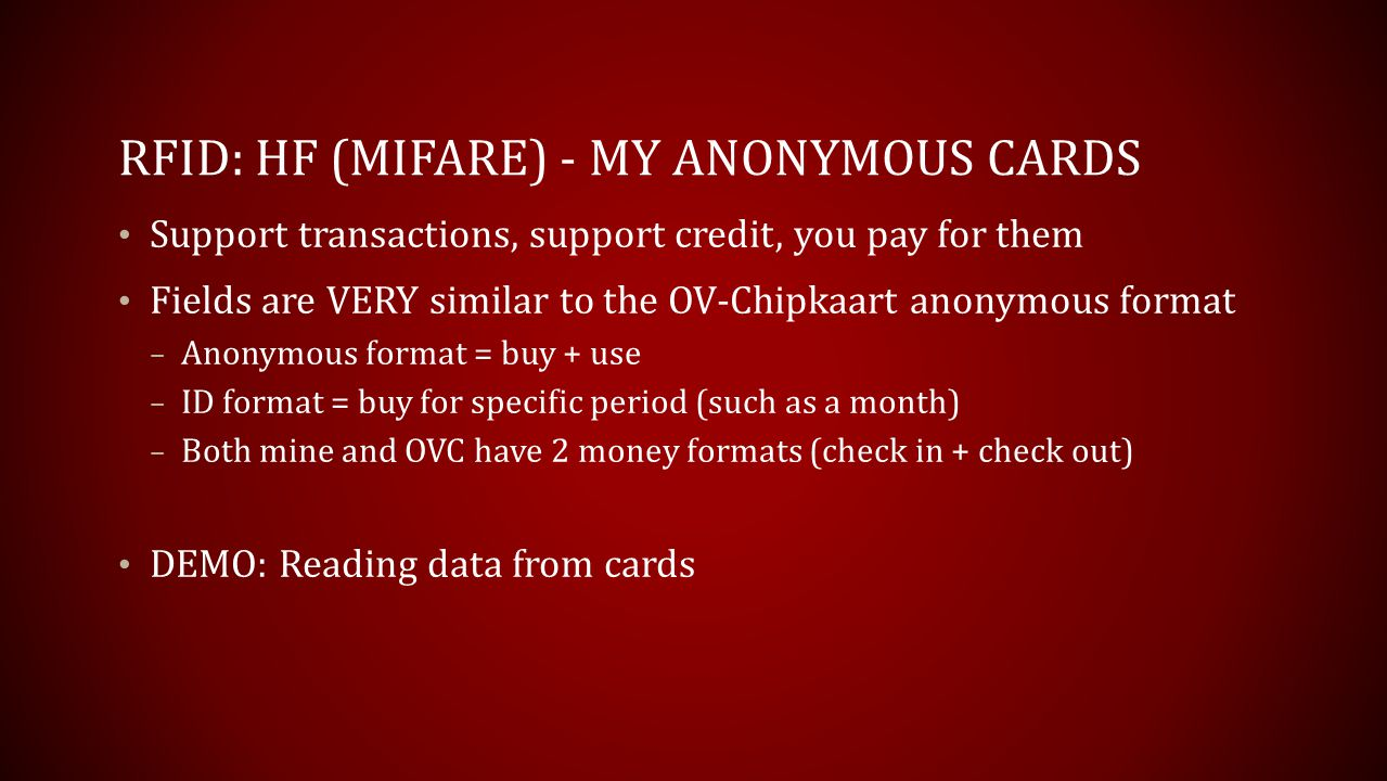 RFID: HF (Mifare) - My Anonymous Cards