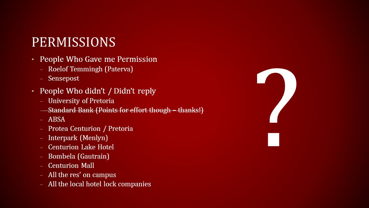 Permissions People Who Gave me Permission
