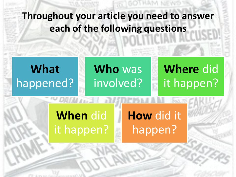 Throughout your article you need to answer each of the following questions