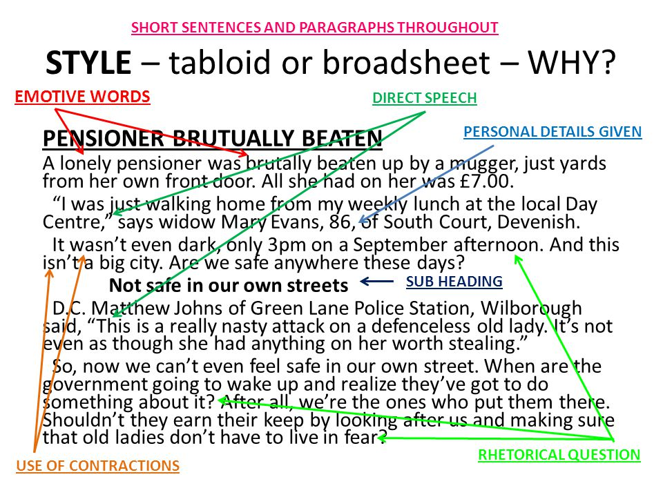 STYLE – tabloid or broadsheet – WHY