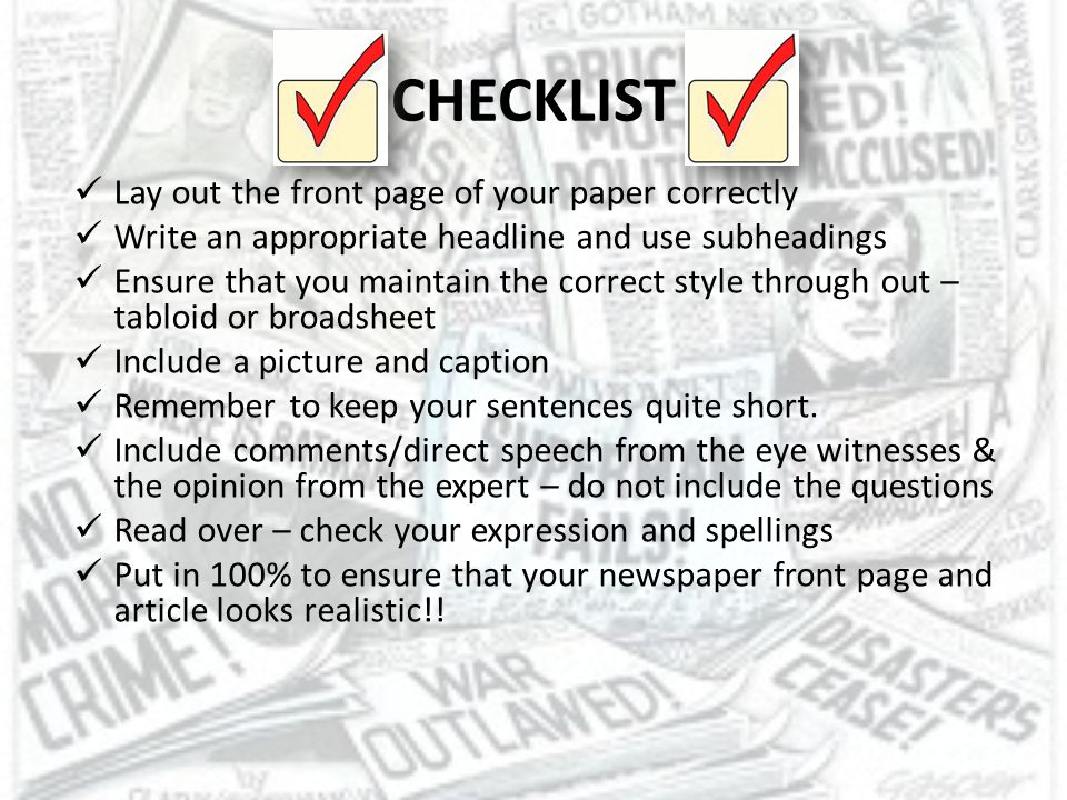 CHECKLIST Lay out the front page of your paper correctly