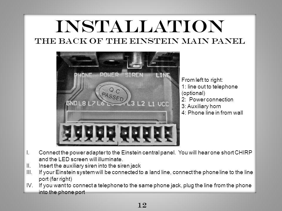 The Back of the Einstein main panel
