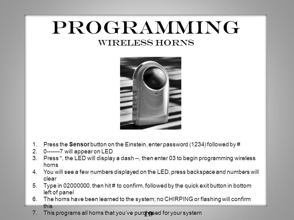 Programming wireless horns 19