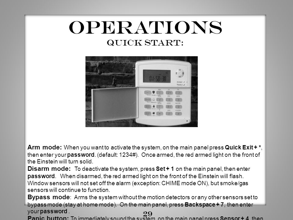 Operations Quick start: 29
