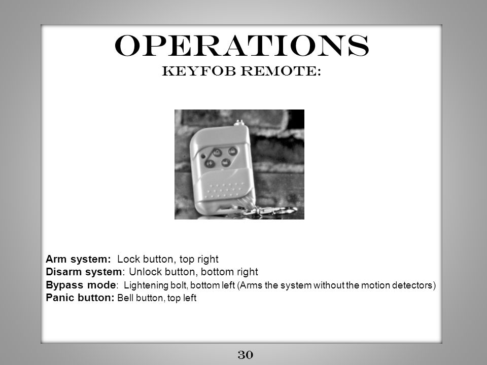 Operations Keyfob Remote: 30 Arm system: Lock button, top right