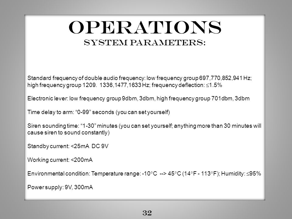 Operations System Parameters: 32