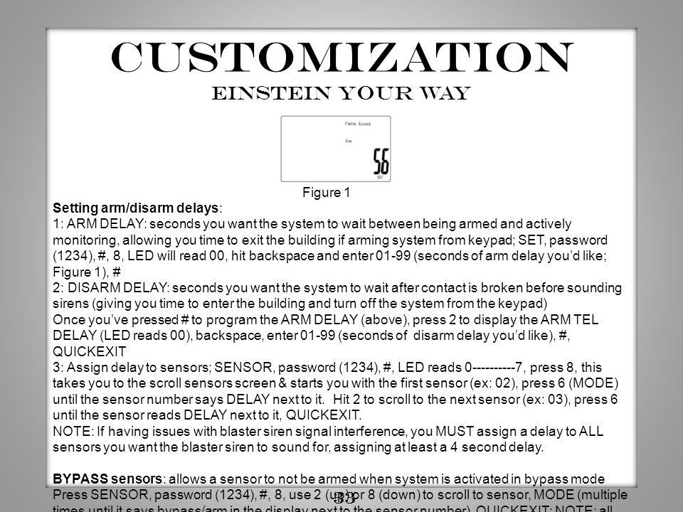 Customization Einstein YOUR way 33 Figure 1 Setting arm/disarm delays: