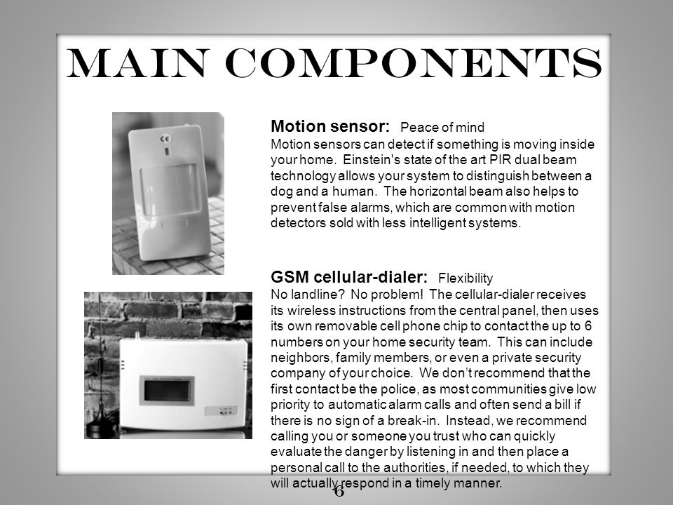 Main components Motion sensor: Peace of mind