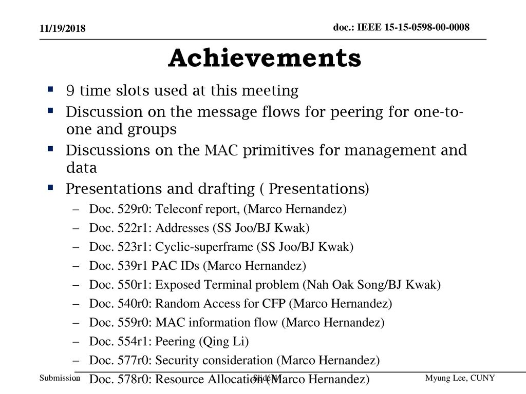 Achievements 9 time slots used at this meeting