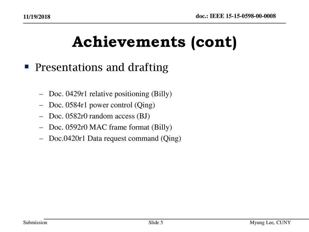 Achievements (cont) Presentations and drafting