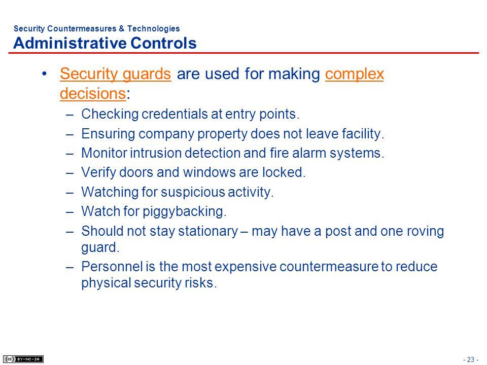 Security Countermeasures & Technologies Administrative Controls