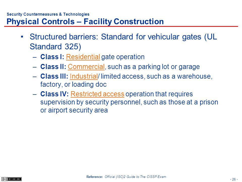 Structured barriers: Standard for vehicular gates (UL Standard 325)