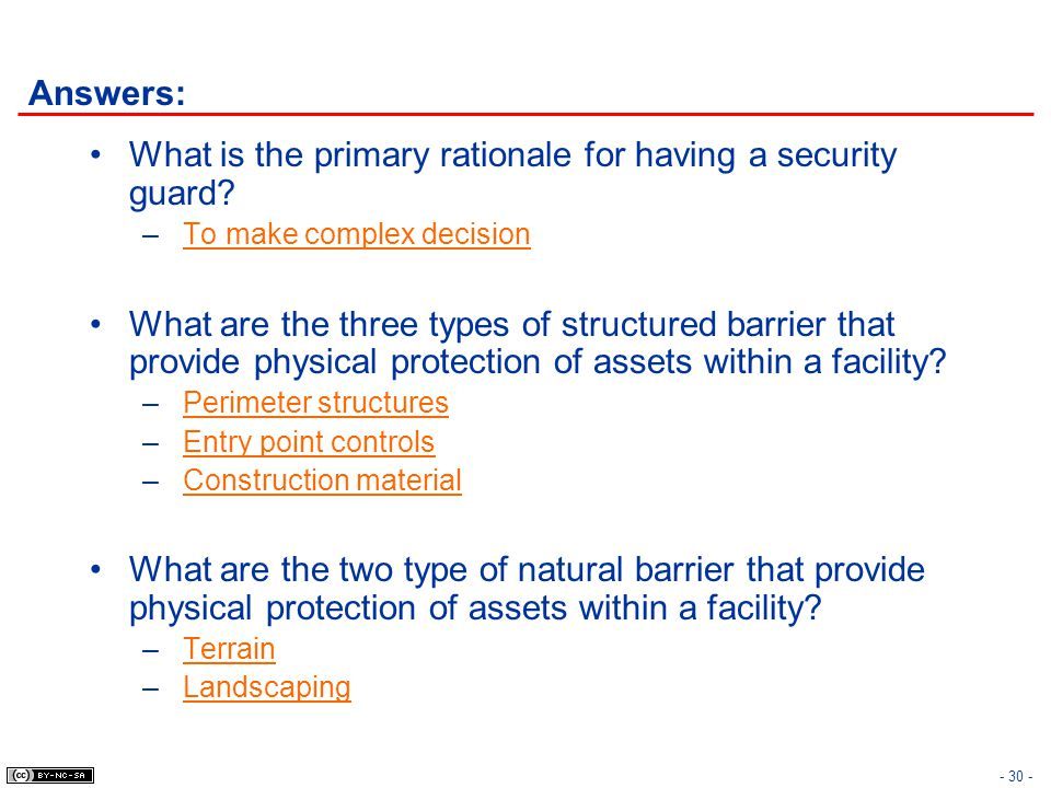 What is the primary rationale for having a security guard