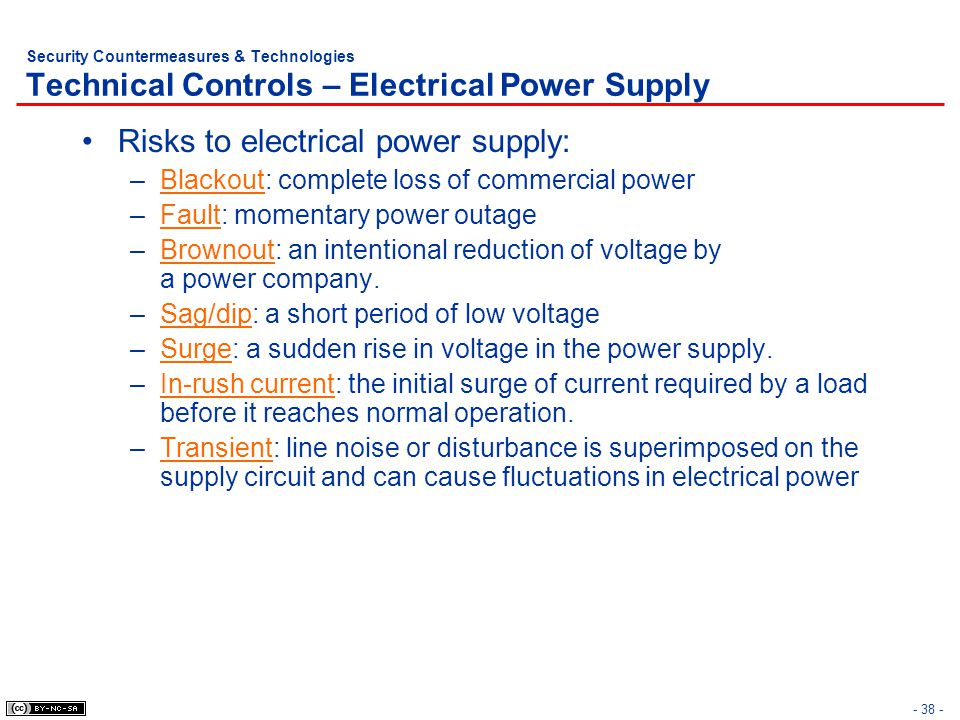 Risks to electrical power supply: