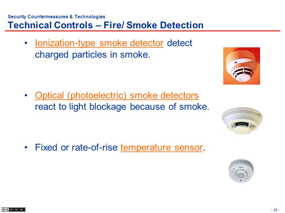 Ionization-type smoke detector detect charged particles in smoke.